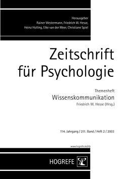 Zeitschrift für Psychologie / Zeitschrift für Psychologie von Hesse,  Friedrich W.