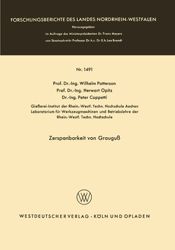 Zerspanbarkeit von Grauguß von Patterson,  Wilhelm
