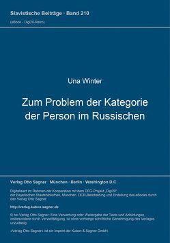 Zum Problem der Kategorie der Person im Russischen von Winter,  Una