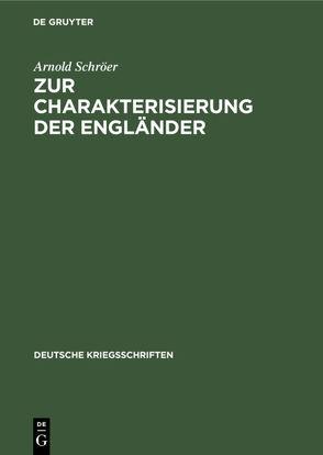 Zur Charakterisierung der Engländer von Schröer,  Michael Martin Arnold