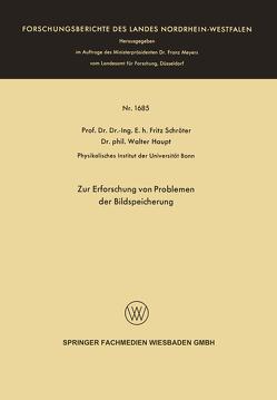 Zur Erforschung von Problemen der Bildspeicherung von Schröter,  Fritz