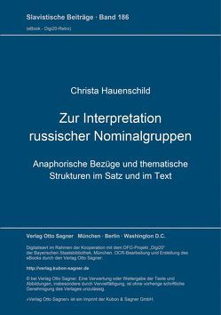 Zur Interpretation russischer Nominalgruppen von Hauenschild,  Christa