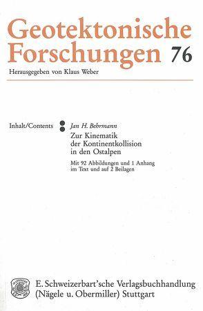 Zur Kinematik der Kontinentkollision in den Ostalpen von Behrmann,  Jan H