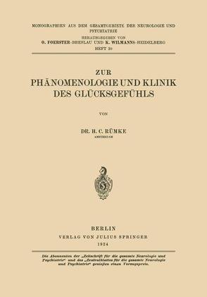 Zur Phänomenologie und Klinik des Glücksgefühls von Rümke,  Henricus Cornelius
