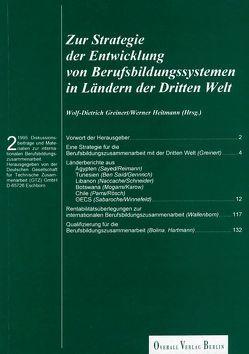 Zur Strategie der Entwicklung von Berufsbildungssystemen in Ländern der Dritten Welt von Greinert,  Wolf Dietrich, Heitmannn,  Werner, Wiese,  Klaus