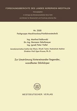 Zur Umströmung hintereinander liegender, wandfester Störkörper von Balkowski,  Manfred