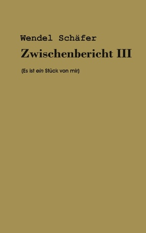 Zwischenbericht III von Schäfer,  Wendel