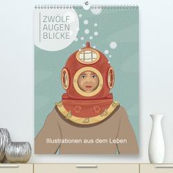 Zwölf Augenblicke – Illustrationen aus dem Leben (Premium, hochwertiger DIN A2 Wandkalender 2021, Kunstdruck in Hochglanz) von Grafik Design,  SWOONY