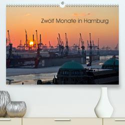 Zwölf Monate in Hamburg (Premium, hochwertiger DIN A2 Wandkalender 2020, Kunstdruck in Hochglanz) von Caladoart